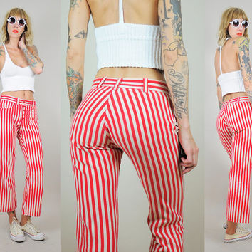 Red PINSTRIPED 70's Pants Cropped Flares Stars N Stripes Bell Bottoms Americana Patched Jeans xs / small