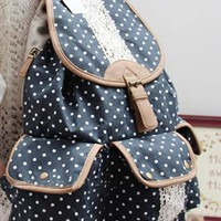 Fashion Dot Lace Canvas Backpack