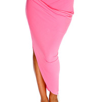 Pink Draped Asymmetrical Skirt