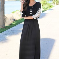 Black Maxi Dress with Crochet Sleeves