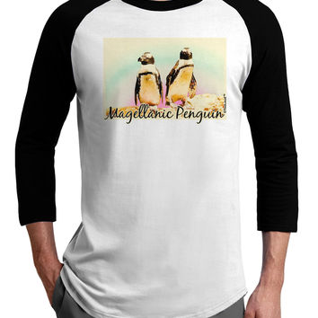 Magellanic Penguin Text Adult Raglan Shirt