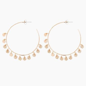 The Hammered Disc Hoop Earrings - Rose Gold