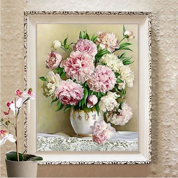 Oriental Vase Flower Canvas DMC Cross Stitch Kits Art Crafts Accurate Printed Embroidery DIY Handmade Needle Work Home Decor