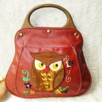 Leather Embroidered Owl Purse Vintage Wooden Handles Signed by Pat Handcrafted Brown Handbag w Front Pocket