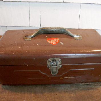 Vintage Tool Box - Brown - Metal Box - Toolbox - Tool Chest - Storage - Man Gift - Fathers Day - Gifts for Dad