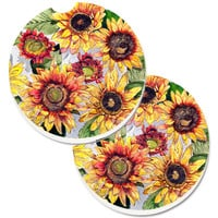 Sunflowers Set of 2 Cup Holder Car Coasters 8766CARC