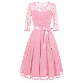 Vintage Floral Lace Pleated Dress Women 3/4 Sleeve O-Neck Elegant Party Sexy Dresses Retro 50s Spring Robe Big Swing Vestidos