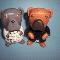 Large 3 inch Pit Bull Wedding Cake Toppers by thepinkkoala on Etsy
