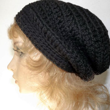Slouch Hat Womens Hat Crochet Slouch Beanie Slouchy Womens Hat Organic Cotton- Black Ink