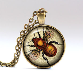 Bee pendant Insect charm Bumble bee necklace RO114