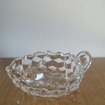 Fostoria American Crystal Triangle Nappy Glass, Vintage Fostoria Glass Leaf Dish