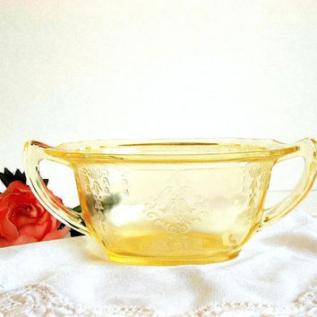Vintage 1930's yellow depression glass Princess pattern sugar bowl by Anchor Hocking Glass, pale yellow sugar dish, open sugar bowl