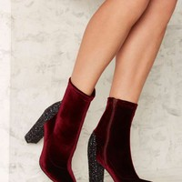 Nasty Gal Sparkle the Fire Velvet Bootie
