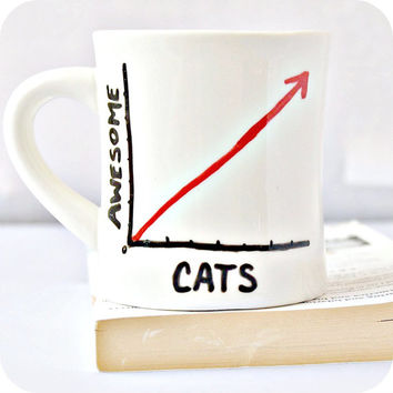Cat awesome Funny Mug coffee tea cup diner mug black white red hand painted math graph nerd