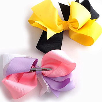 "Mike & Mary® Boutique Girls Large 5.5"" Spike Hair Bow Clips Barrettes Hair Pins (2pcs 5.5"" 3 Colors Mix Set 5)"