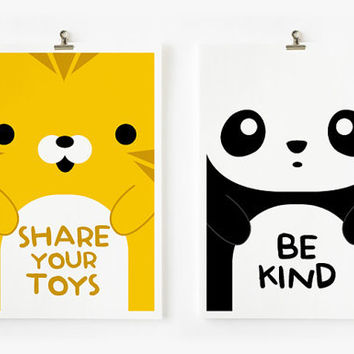 Children Decor Good Manners Flash Cards, Kids Wall Art set of 15 in 4 x 6 , Children's Art