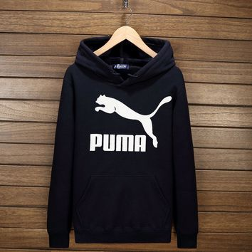 One-nice™ PUMA Women Men Lover Casual Print Long Sleeve Hoodie Top Hooded Sweater Pullover(7-Color) Dark blue I-YSSA-Z