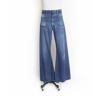 Vintage 1970s Jeans - Denim Sailor Dungaree High waisted Bell Bottoms Navdungare - 34 x 33""