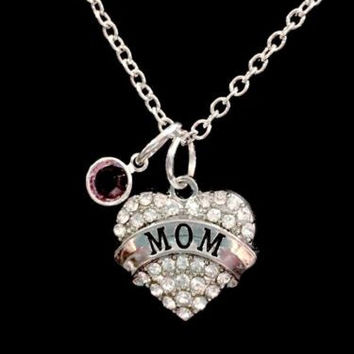 Birthstone Personalized Crystal Mom Heart Gift Mother Necklace