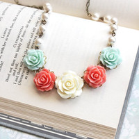 Rose Bridal Necklace Coral and Mint Aqua Statement Necklace Wedding Jewelry Pearl Chain Flower Bib Necklace Ivory Cream Floral Jewellery