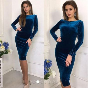 Women Bandage Bodycon Casual Long Sleeve Evening Party Midi Dress Velvet Long Sleeve O-Neck Dress