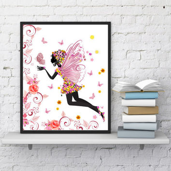 Fairy print Nursery decor Butterflies art Kids wall art Fairy tale Flowers print Baby shower Digital print Girls room Kids gift Fairy poster
