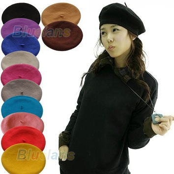 Solid Color Warm Wool Winter Girl Beret French Artist Beanie Hat Ski Cap 12 Colors = 1958012036