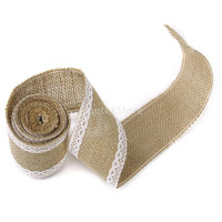 2M Hessian Burlap Lace Craft Ribbon for Vintage Wedding Home Decor = 1932863940