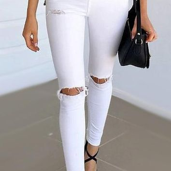8DESS  Hole Ripped Jeans Women  Cool Denim High Waist Pants Female Skinny Casual Jeans