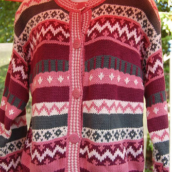 Vintage 80s Paris Sport Club Worldwide Chunky Knit Tribal Pastel Pink Rose Mauve Ski Nordic Cardigan Big Button Front Sweater Size Medium