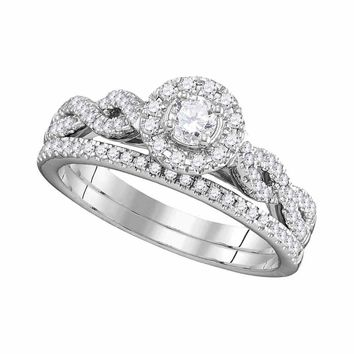 14kt White Gold Womens Round Diamond Halo Twist Bridal Wedding Ring Set 1/2 Cttw