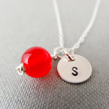 Monogram silver necklace, initial necklace, red jade necklace, charm necklace, personalised jewellery, gift for her,