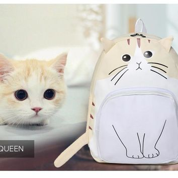 Cat Printing Canvas Backpack