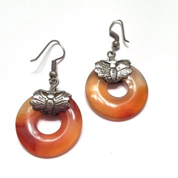 Carnelian Hoop Dangle Earrings, Stamped Sterling Silver, Butterflies, French Wires, Vintage Jewelry