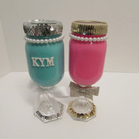 Bridal Shower Decor,Baby Shower Decor,Mason Jars,Mason Jar Banks,Decorated Mason Jars,Mason Jars with Pearls and Sequins,Centerpiece