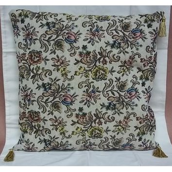 Custom Made Throw Pillow Beige Floral Brocade 16in x 16in  * Fabric  -- Used