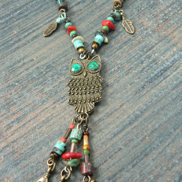 owl necklace statement necklace pendant necklace  feathers gemstone in whimisical native american inspired boho and hipster style