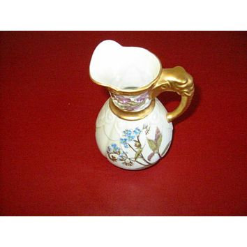 Royal Worcester Jug Porcelain Pitcher Elephant Gold Handle