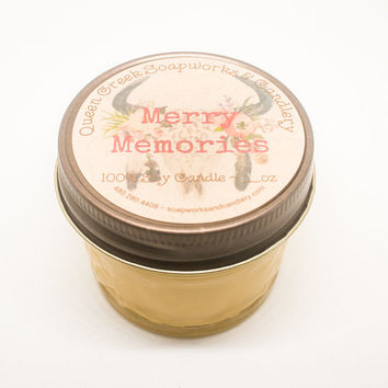 Merry Memories Pure Soy Candle in 8oz Mason Jar with Rustic Lid Highly Scented and Long Lasting
