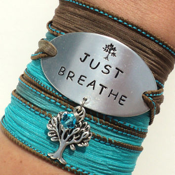 Just Breathe Silk Wrap Bracelet Yoga Jewelry Tree Hand Stamped Unique Gift For Her Teacher Daughter Stocking Stuffer Under 50 Item K82