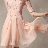 ROMWE | ROMWE Flral Embroidered Layered Mesh Pink Dress, The Latest Street Fashion