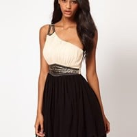 Little Mistress Embellished Waist and Shoulder Dress at asos.com