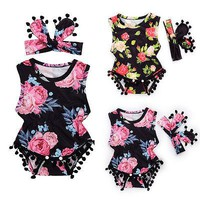 2017 Newborn Infant Baby Clothes Summer Baby Girl Sleeveless Floral Tassel Romper Jumpsuit+Headband 2pcs Set Baby Outfit