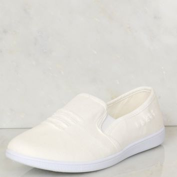 Distressed Denim Skimmer Shoes White