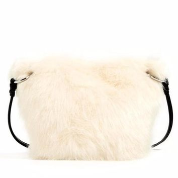 White Faux Fur Messenger Bag