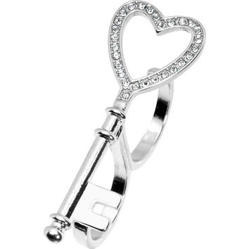 Silver Tone Crystalline Heart Shaped Skeleton Key Double Finger Ring