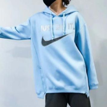 Nike autumn and winter men and women sweater hooded jacket F-HYLFZC Blue