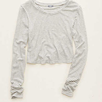Aerie Crop Long Sleeve Tee , Grey