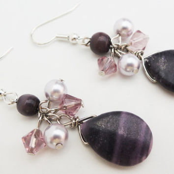 Purple and Silver Dangle Cluster Earrings Handmade by Lindsey - Silver - Lavender - Signature Cluster Earrings
