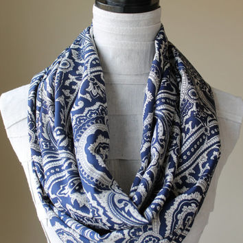 Paisley Infinity Scarf, Paisley Blue Scarf, Navy Blue Scarf, Spring Scarf, Floral Scarf